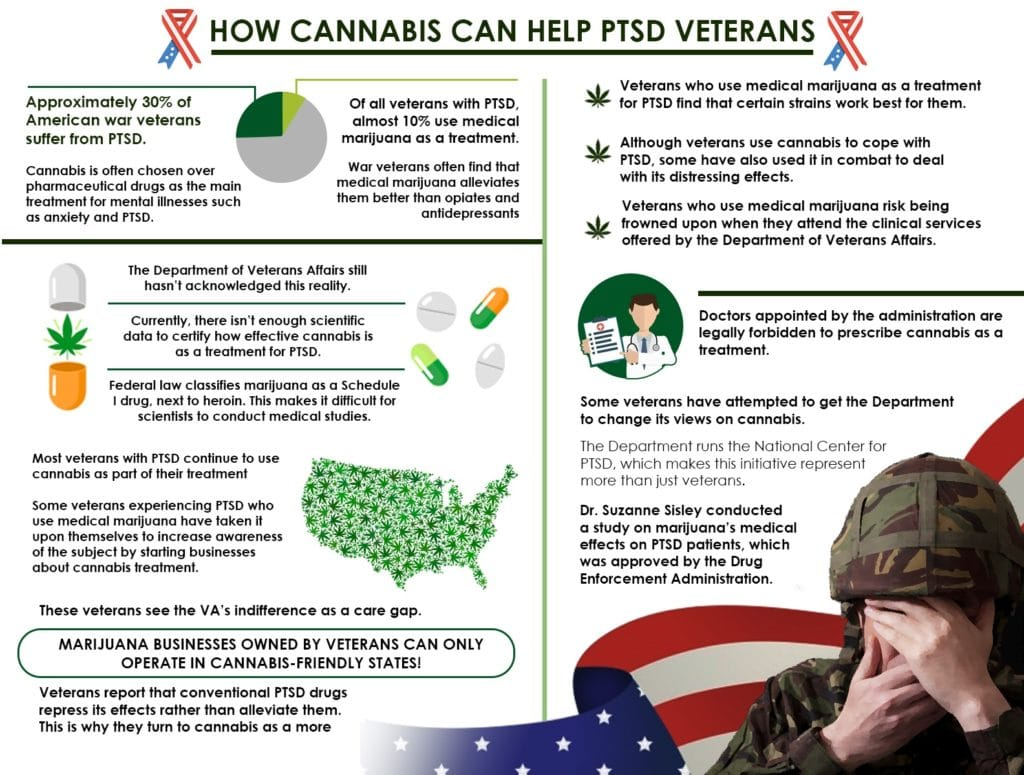 Approximately 30% of American war veterans suffer from PTSD.